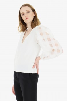 V-NECK Blouse Late with special sleeves